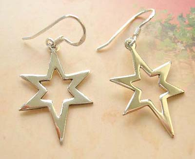 Fashion star design sterling silver earrings, cut-out