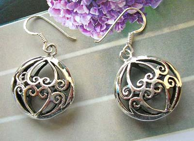 Jewelry supply wholesale, Filigree design sterling silver earrings