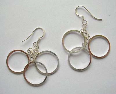 Wholesale design jewelry supplier in solid sterling silver earrings with triple circles