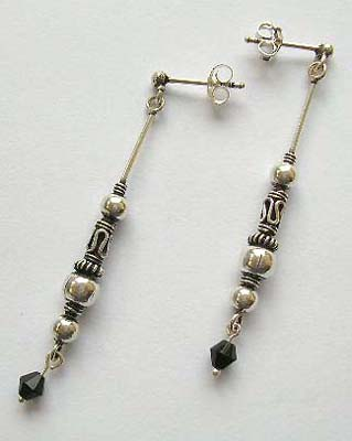 Sterling silver jewelry finding wholesale - silver long earrings with mystic sign and silver balls