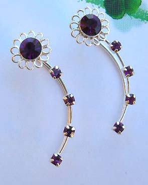 Wholesale threader jewelry company supply purple Cz sterling silver ear threader