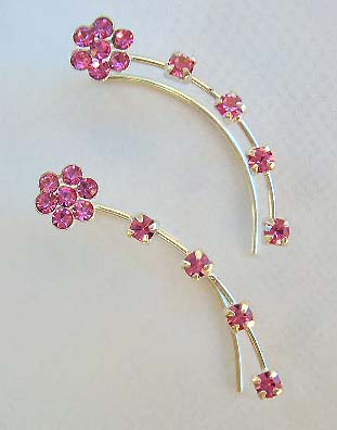 Catalog fashion jewelry threader wholesale sterling silver ear thread with pink Cz in flower design