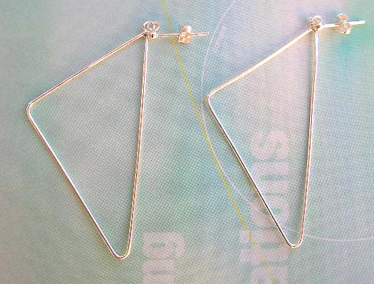 Wholesale geometric fashion jewelry in solid silver, 925 stamped sterling silver earrings in big triangular shape