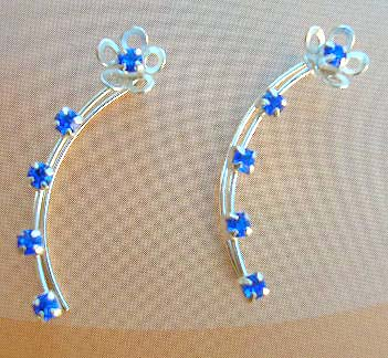 Unique Cz threader fashion jewelry wholesaler in sterling silver ear strings with blue Cz