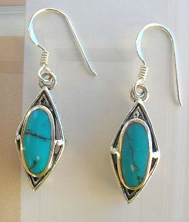 Fashion turquoise piercing jewelry wholesaler of olive reconstructed turquoise silver earrings