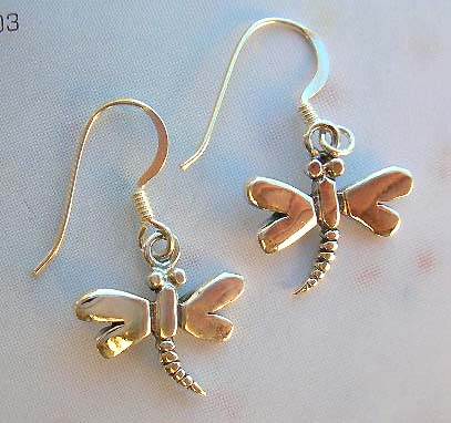Sterling silver fashion earring jewelry in dragonfly design