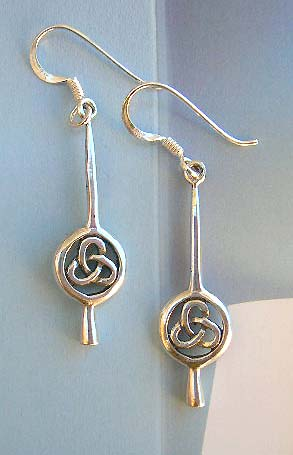 Irish Celtic knot design sterling silver earrings chain, 925 stamped