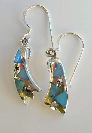 High design inspired blue mother-of-pearl in sterling silver earrings