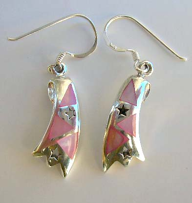 Custume jewelry fashion wholesale, pink mother of pearl sterling silver earrings