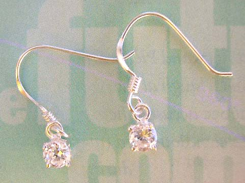 High quality design women Cz jewely manufacturer clear rounded Cz sterling silver earrigns
