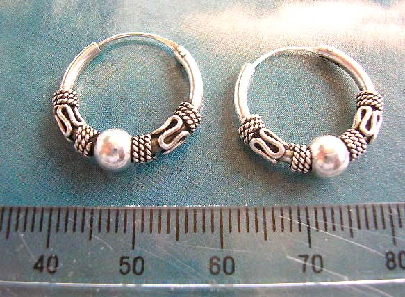 Man fashion Bali jewelry supply sterling silver beaded motif earrings with mini triple loop decor sided by mystic sign