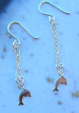 Fashion sea life animal sterling silver long earrings with dolphin design