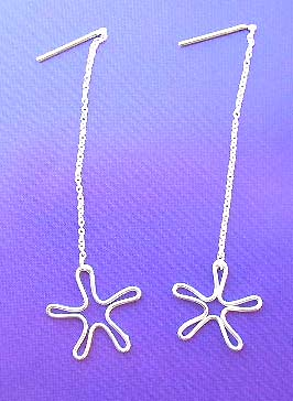 Wholesale jewelry store on line - sterling silver earrings with long chain holding cut-out flower design