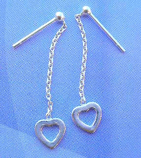 Shop for sterling silver jewelry wholesale in long chain with cut-out heart earrings