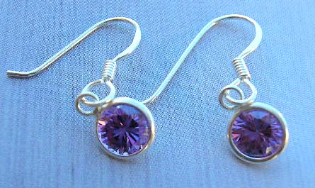 Trendy silver jewelry fashion US wholesale in sterling silver earrings with purple Cz