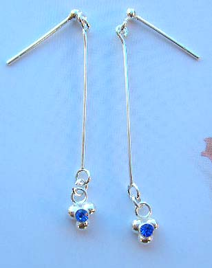 Online fashion jewelry gift box wholesale catalog in sterling silver earrings with blue Cz