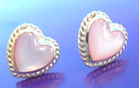 Discount fashion jewelry wholesale supply heart sterling silver earrings with pink mother of pearl inlay