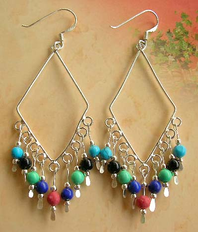 Jewelry special  piercing wholesale in Chandelier hoop earring in sterling silver