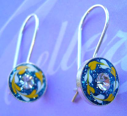 Collectible fashion enamel jewely wholesale supply sterling silver floral enamel earrings with rounded clear cz