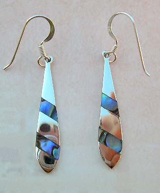 Jewelry fashion abalone whoelsaler in sterling silver earrings with abalone seashell