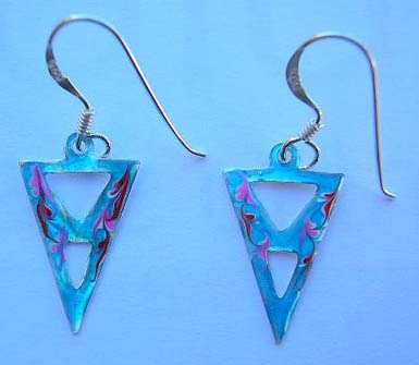 Fine 925 sterling silver jewelry in enamel wholesaler supply triangular light blue enamel earrings