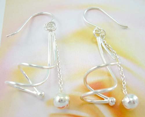 Trendy high fashion jewelry pearl wholesale supply curly sterling silver earrings chain with silver ball