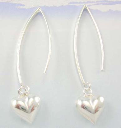 Sterling silver thread earrings supplier supply long earrings with solid heart design