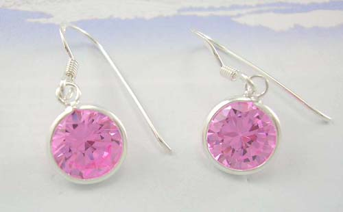 Lady fashion cubic zirconia jewelry wholesale display sterling silver earrings with pink rounded Cz