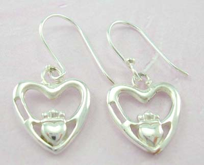 Affortable fashion jewelry sterling silver earrings with two hands holding a heart design