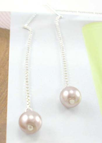 Wholesale jewelry shop for gift wholesaler long dangling sterling silver earrings with imitated pearl