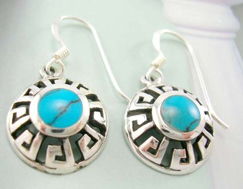 Fashion turquoise design importer wholesale rounded native style reconstructed turquoise inlay silver earrings