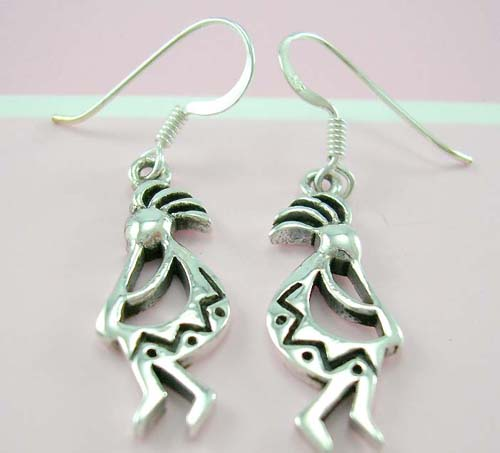 Western native jewelry designer wholesale sterling silver earrings in native people