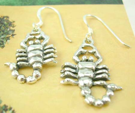 Animal jewelry shopping wholesale supplier in sterling silver earrings with scorpion design