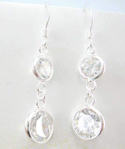 Wholesale cubic zirconia fashion jewelry supplier sterling silver dangling earrings with clear cz
