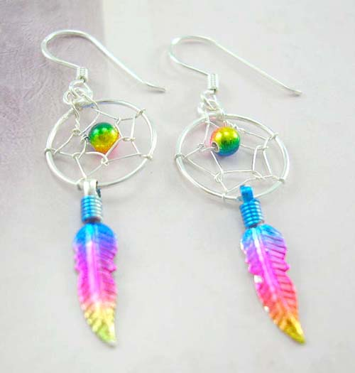 Trendy dream catcher jewelry design wholesale supply sterling silver earrings with colorful dearm cather design