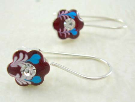 Enamel art jewelry reference display wholesale flower design sterling silver earrings with rounded clear cz in middle