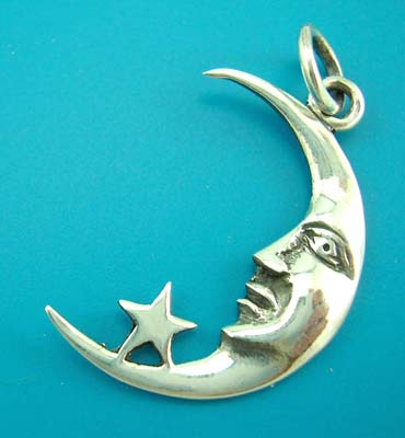 Moon & star pendant jewelry, sterling silver, wholesaler moon and star silver pendant design
