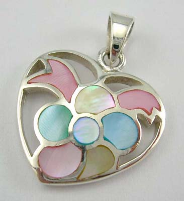 Collectible and gift, mother of pearl , 925 stamped sterling silver heart pendant with assorted mother-of-pearl