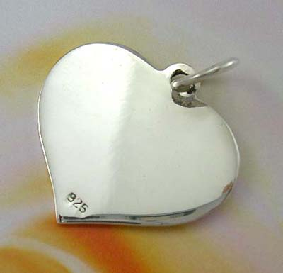Love heart silver charm gift wholesale in solid sterling silver heart charm