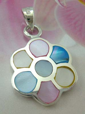 Mother of pearl jewelry silver fashion shopping display sterling silver pendant flower design with assorted mother of pearl