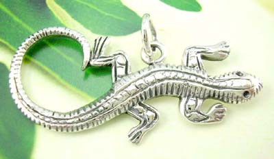 Distinctive animal silver pendant catalog supplier, gecko sterling silver pendant