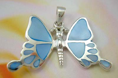 Collectiive pearl jewelry pendant butterfly wholesale sterling silver butterfly pendant with blue mother of pearl inlay