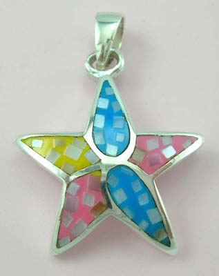 Nature sceen design mother of pearl jewelry wholesale supply star sterling silver pendant with assorted mother of pearl