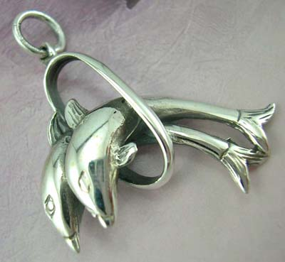 High quality jewelry gift for dolphin lover - sterling silver pendant with two jumping dolphins