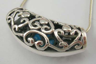 Silver turquoise pendant fashion wholesale supply filigree sterling silver pendant slide with turquoise in floral design