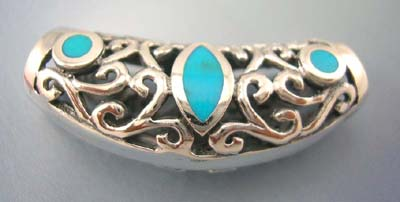 Custume turquoise jewelry in filigree design supplier sterling silver filigree pendant with three turquoise