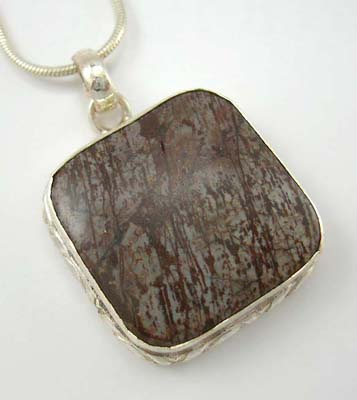 Fashion Coco wood jewelry pendant in solid sterling silver with sqare Coco wood inlay