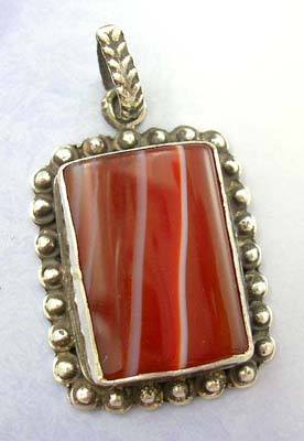 Buy fashion jewelry pendant on line - 925 stamped sterling silver pendant with red rectangular genuine stone