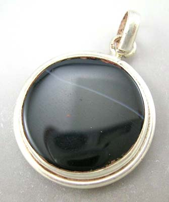 Designer silver pendant fashion jewelry wholesaler black rounded genuine sterling silver pendant
