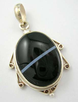 Silver jewelry pendant US wholesale sterling silver pendant in oval black genuine stone with blue/white liner